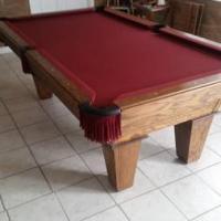 Pool Table with Burgundy Felt