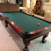 Connelly Pool Table 4x8 Cherry with Black Leather Pockets